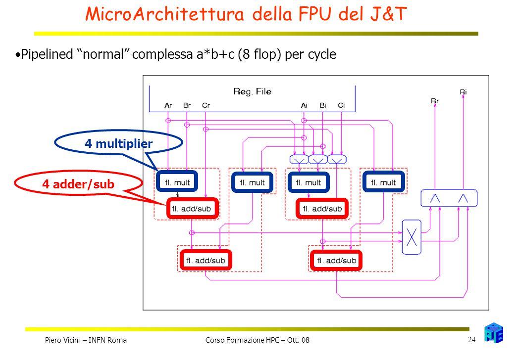 MicroArchitettura della FPU del J&T 4 multiplier4 adder/sub Pipelined normal complessa a*b+c (8 flop) per cycle Piero Vicini – INFN Roma 24 Corso Formazione HPC – Ott.