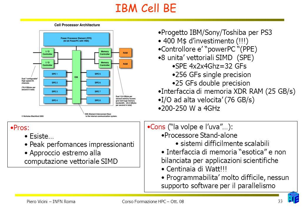 IBM Cell BE Progetto IBM/Sony/Toshiba per PS3 400 M$ d'investimento (!!!) Controllore e' powerPC (PPE) 8 unita' vettoriali SIMD (SPE) SPE 4x2x4Ghz=32 GFs 256 GFs single precision 25 GFs double precision Interfaccia di memoria XDR RAM (25 GB/s) I/O ad alta velocita' (76 GB/s) 200-250 W a 4GHz Pros: Esiste… Peak perfomances impressionanti Approccio estremo alla computazione vettoriale SIMD Cons ( la volpe e l'uva …): Processore Stand-alone sistemi difficilmente scalabili Interfaccia di memoria esotica e non bilanciata per applicazioni scientifiche Centinaia di Watt!!.