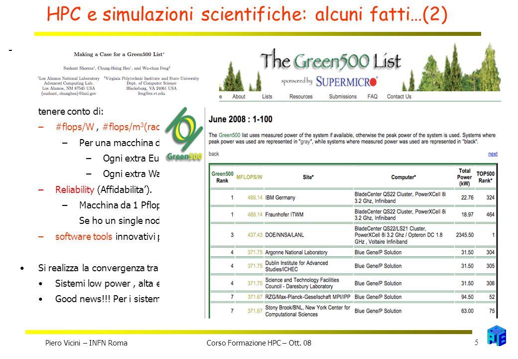 HPC e simulazioni scientifiche: alcuni fatti…(2) Piero Vicini – INFN Roma 5 Corso Formazione HPC – Ott.