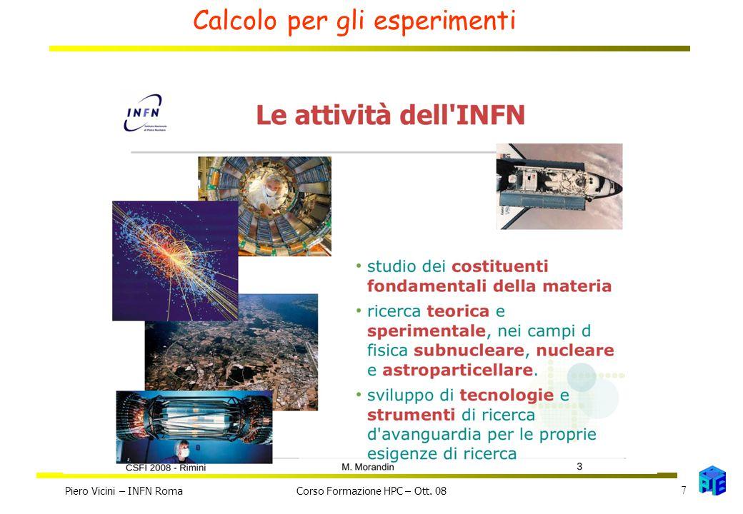 Calcolo per gli esperimenti Piero Vicini – INFN Roma 7 Corso Formazione HPC – Ott. 08
