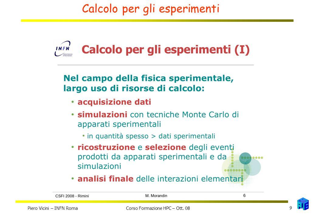Calcolo per gli esperimenti Piero Vicini – INFN Roma 9 Corso Formazione HPC – Ott. 08