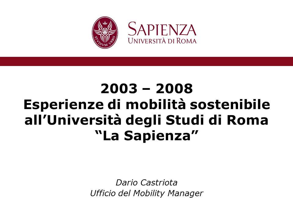 2003 – 2008 Esperienze di mobilità sostenibile all'Università degli Studi di Roma La Sapienza Dario Castriota Ufficio del Mobility Manager