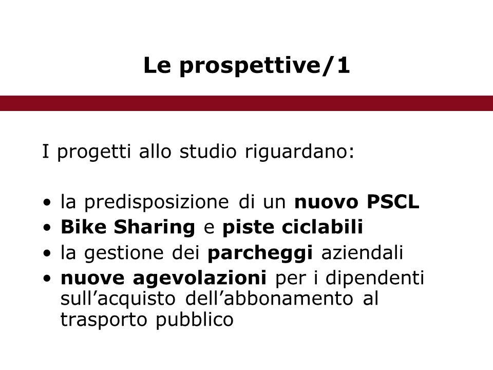 Le prospettive/1 I progetti allo studio riguardano: la predisposizione di un nuovo PSCL Bike Sharing e piste ciclabili la gestione dei parcheggi aziendali nuove agevolazioni per i dipendenti sull'acquisto dell'abbonamento al trasporto pubblico