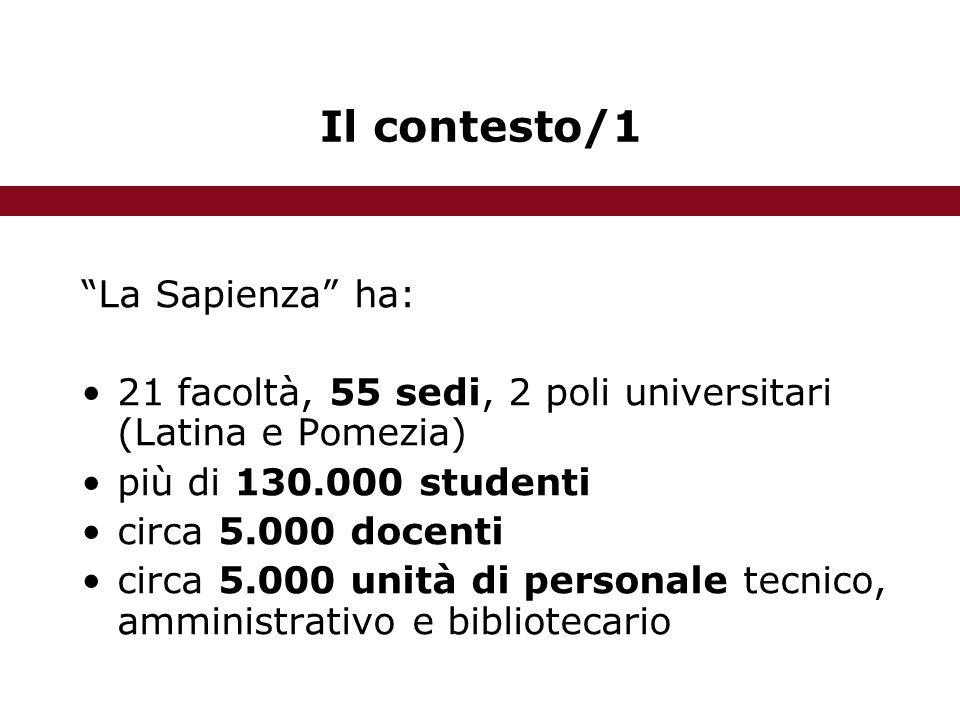 Il contesto/1 La Sapienza ha: 21 facoltà, 55 sedi, 2 poli universitari (Latina e Pomezia) più di 130.000 studenti circa 5.000 docenti circa 5.000 unità di personale tecnico, amministrativo e bibliotecario