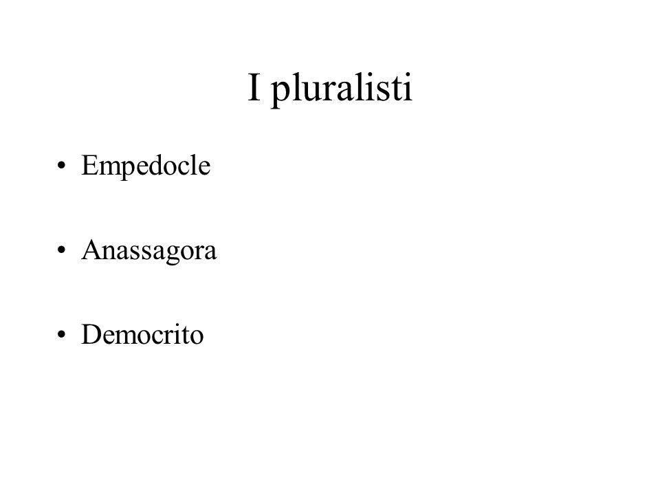 I pluralisti Empedocle Anassagora Democrito
