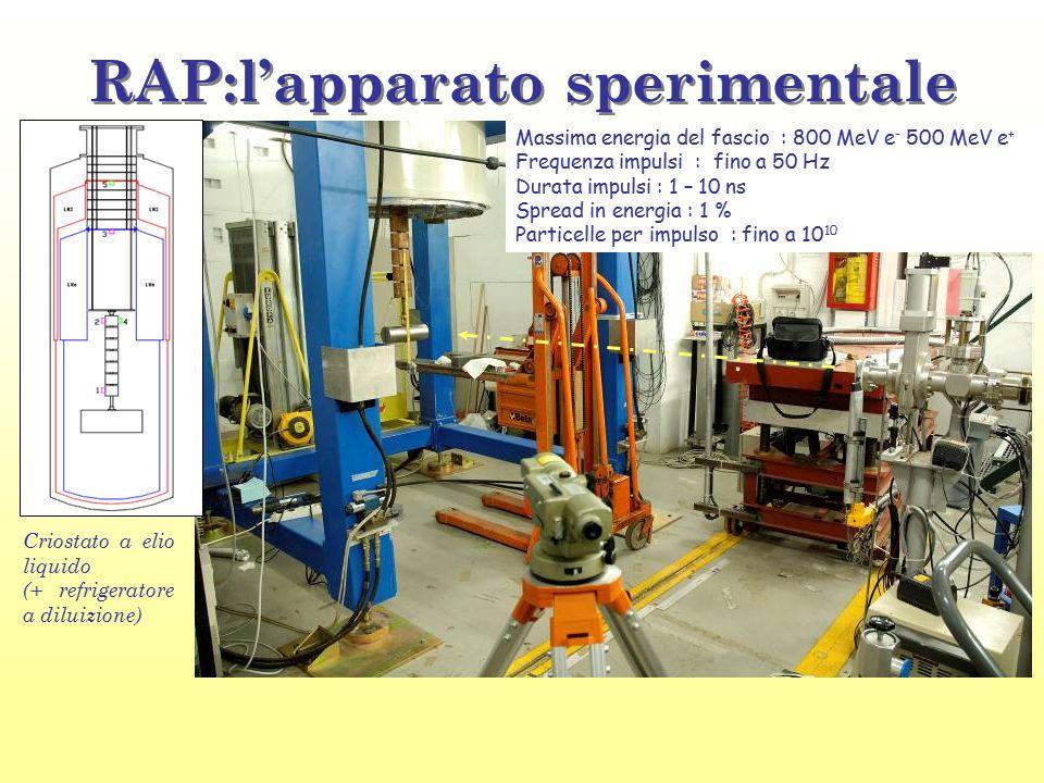 RAP:l'apparato sperimentale Massima energia del fascio : 800 MeV e - 500 MeV e + Frequenza impulsi : fino a 50 Hz Durata impulsi : 1 – 10 ns Spread in