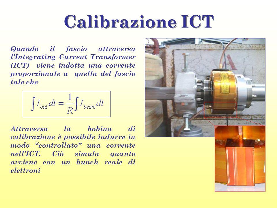 Calibrazione ICT Quando il fascio attraversa l'Integrating Current Transformer (ICT) viene indotta una corrente proporzionale a quella del fascio tale