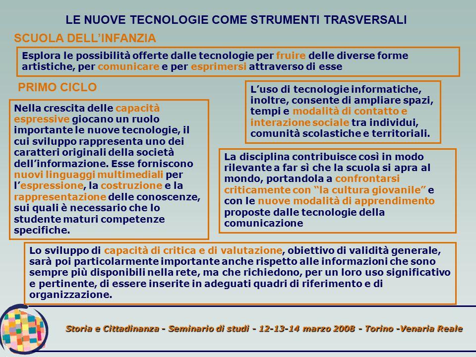 Storia e Cittadinanza - Seminario di studi - 12-13-14 marzo 2008 - Torino -Venaria Reale LE NUOVE TECNOLOGIE COME STRUMENTI TRASVERSALI SCUOLA DELL'INFANZIA Esplora le possibilità offerte dalle tecnologie per fruire delle diverse forme artistiche, per comunicare e per esprimersi attraverso di esse PRIMO CICLO Nella crescita delle capacità espressive giocano un ruolo importante le nuove tecnologie, il cui sviluppo rappresenta uno dei caratteri originali della società dell'informazione.