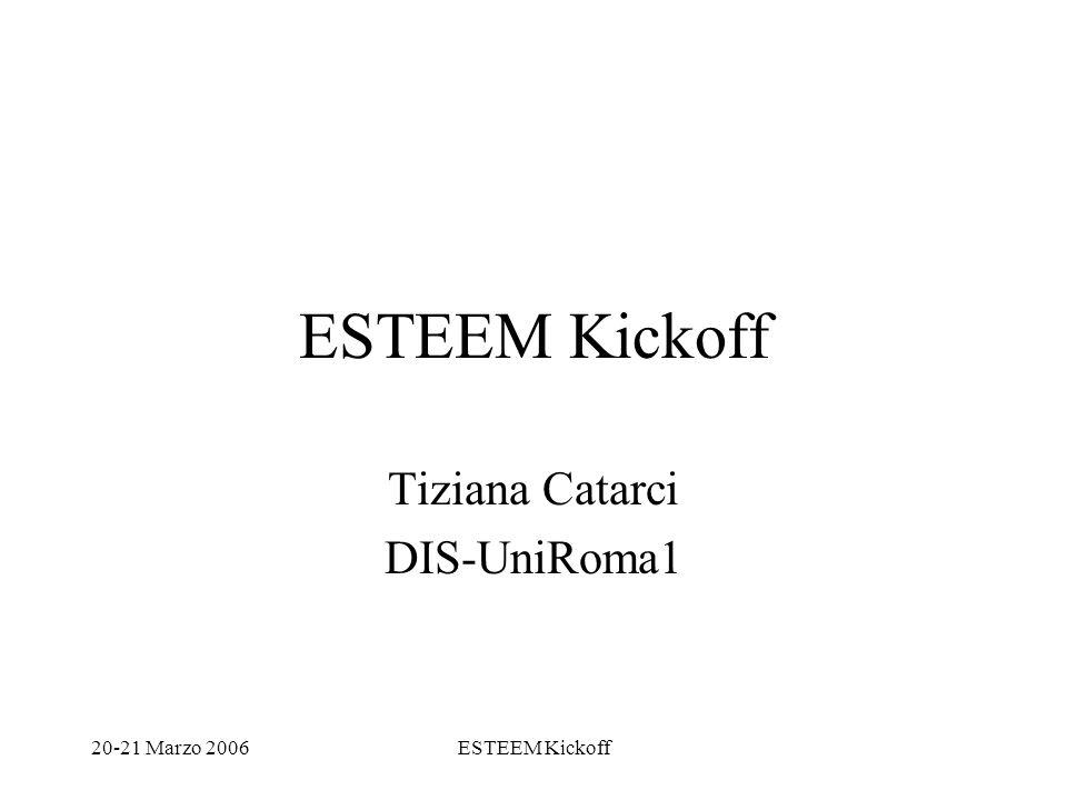 20-21 Marzo 2006ESTEEM Kickoff Tiziana Catarci DIS-UniRoma1