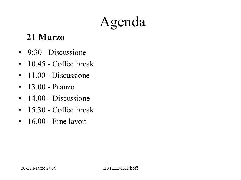 20-21 Marzo 2006ESTEEM Kickoff Agenda 9:30 - Discussione 10.45 - Coffee break 11.00 - Discussione 13.00 - Pranzo 14.00 - Discussione 15.30 - Coffee break 16.00 - Fine lavori 21 Marzo
