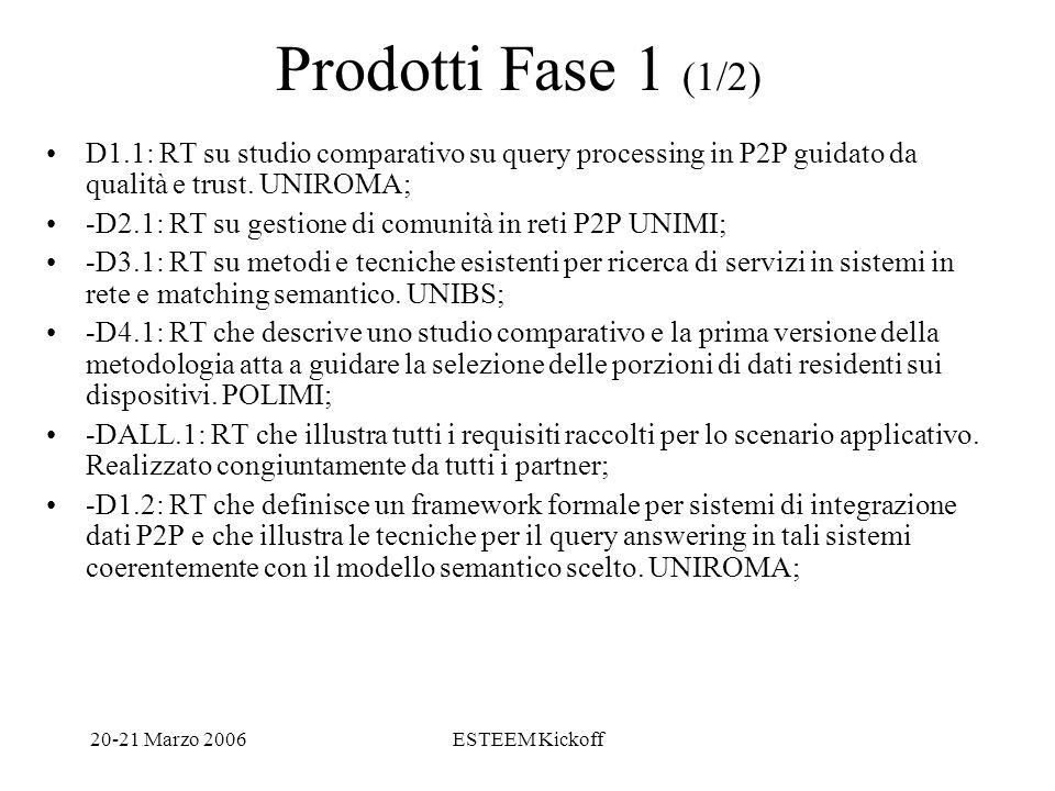 20-21 Marzo 2006ESTEEM Kickoff Prodotti Fase 1 (1/2) D1.1: RT su studio comparativo su query processing in P2P guidato da qualità e trust.