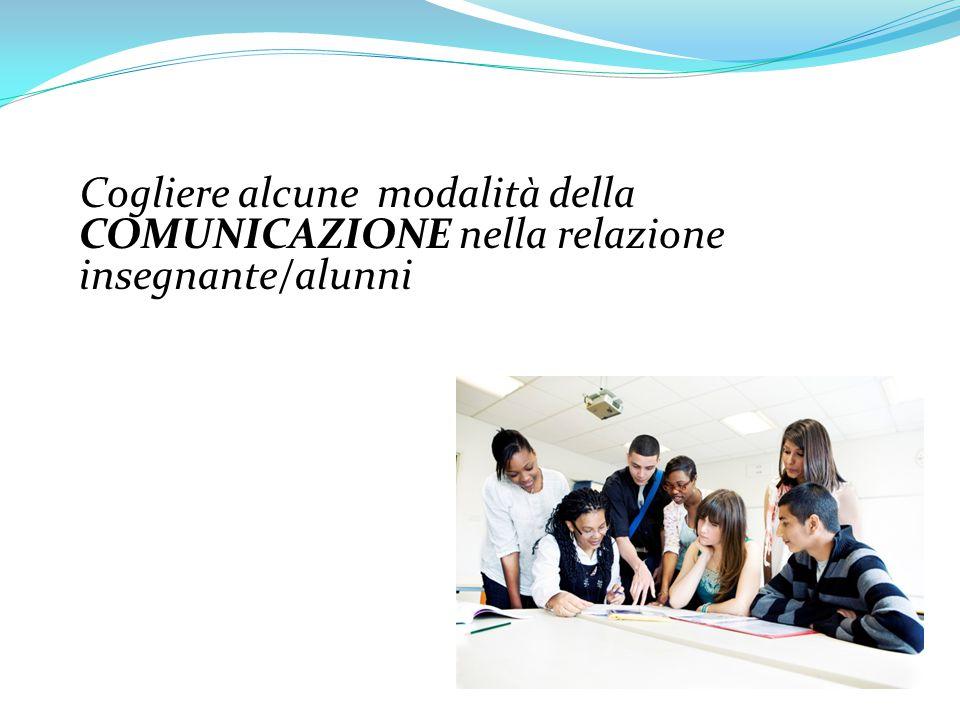 Cogliere alcune modalità della COMUNICAZIONE nella relazione insegnante/alunni