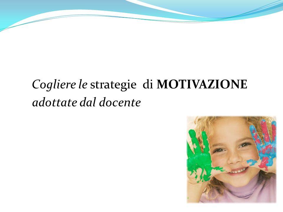 Cogliere le strategie di MOTIVAZIONE adottate dal docente