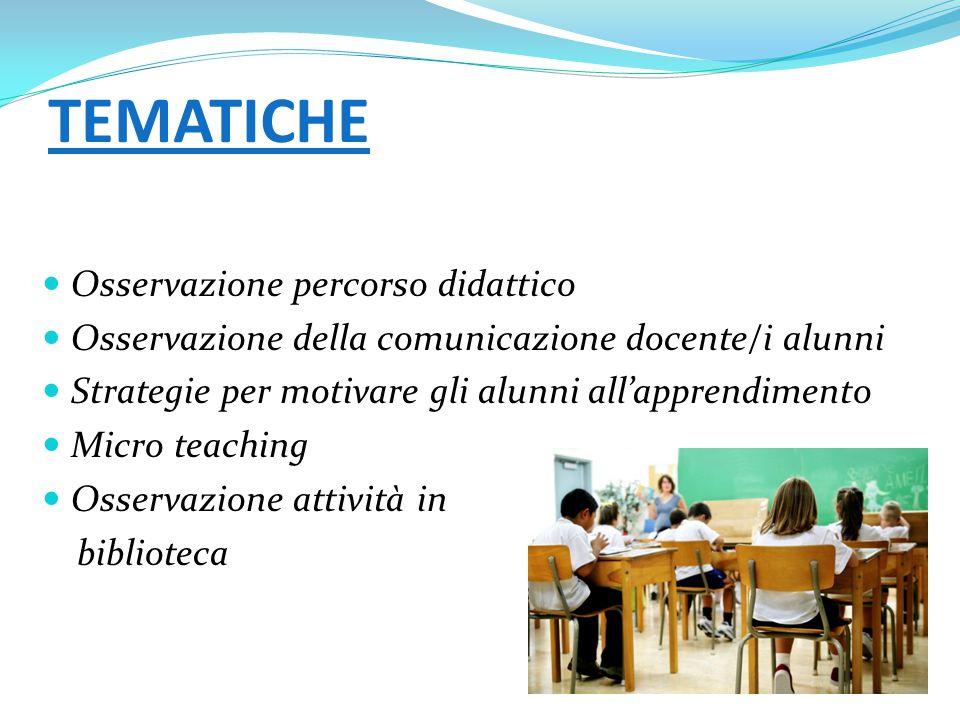 TEMATICHE Osservazione percorso didattico Osservazione della comunicazione docente/i alunni Strategie per motivare gli alunni all'apprendimento Micro