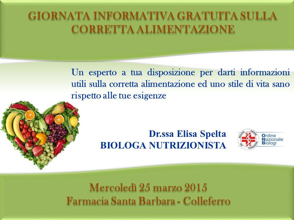 Un esperto a tua disposizione per darti informazioni utili sulla corretta alimentazione ed uno stile di vita sano rispetto alle tue esigenze Dr.ssa El