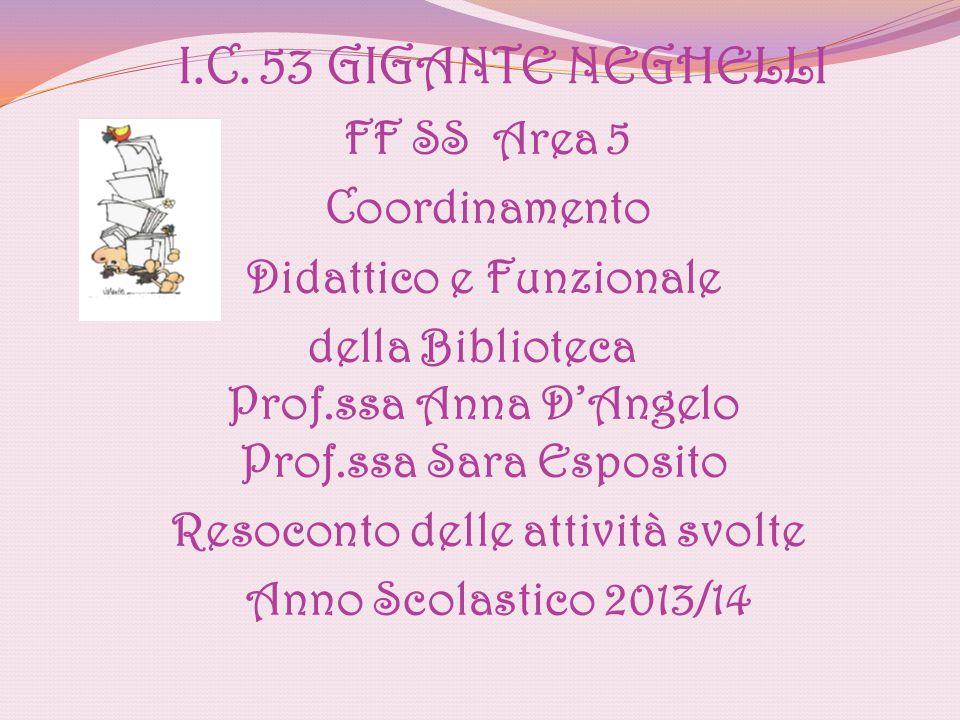 Anno Scolastico 2013/14 FF SS Area 5 Coordinamento Didattico e Funzionale della Biblioteca Prof.ssa Anna D'Angelo Prof.ssa Sara Esposito Resoconto del