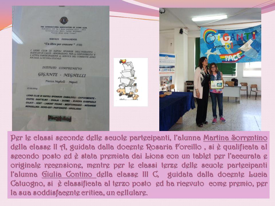 Per le classi seconde delle scuole partecipanti, l'alunna Martina Sorrentino della classe II A, guidata dalla docente Rosaria Forcillo, si è qualifica