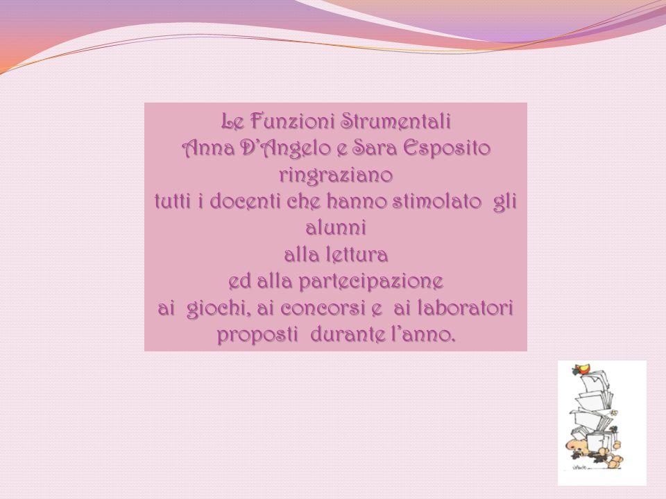 Le Funzioni Strumentali Anna D'Angelo e Sara Esposito ringraziano tutti i docenti che hanno stimolato gli alunni alla lettura ed alla partecipazione a
