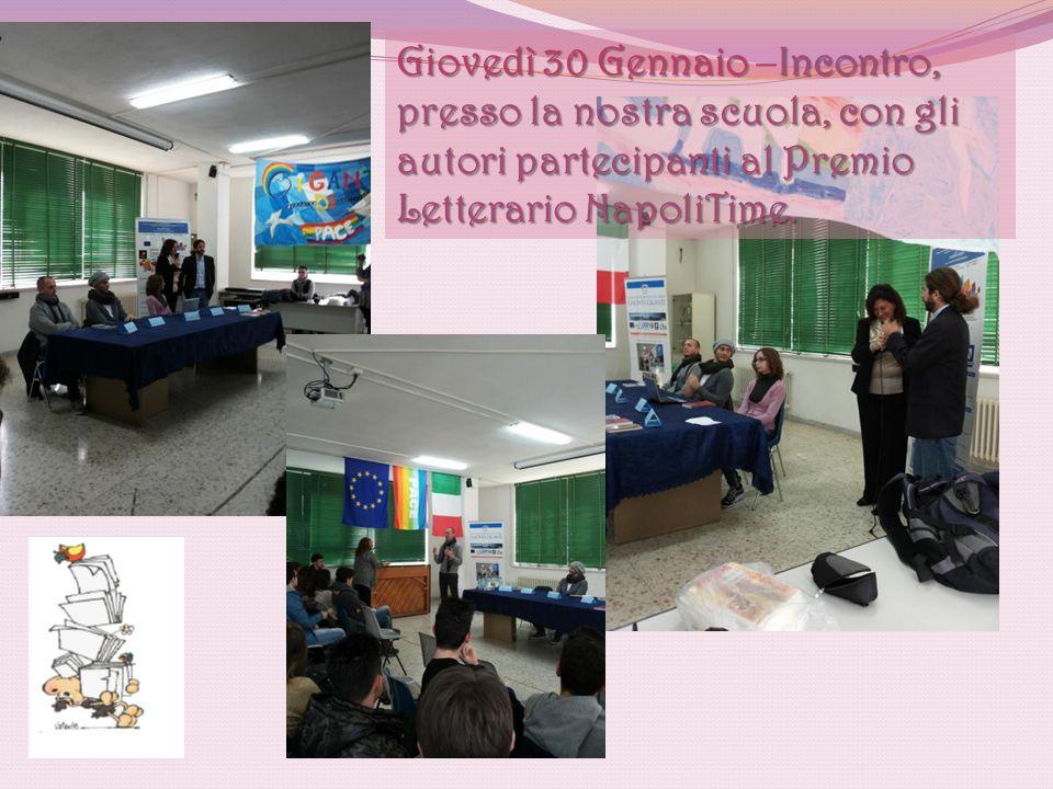 Gli alunni ascoltano gli scrittori Carlo Giordano, Fabio Massa e Giovanna Di Troia, quindi dialogano con loro, ponendo domande sui testi che stanno leggendo.