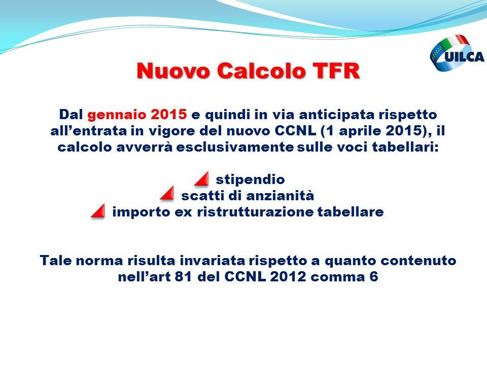 Nuovo Calcolo TFR Nuovo Calcolo TFR Dal gennaio 2015 e quindi in via anticipata rispetto all'entrata in vigore del nuovo CCNL (1 aprile 2015), il calc