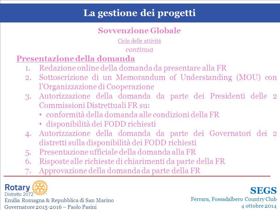 SEMINARIO ISTRUZIONE SQUADRA DISTRETTUALE Repubblica di San Marino, 22 Febbraio 2014 La gestione dei progetti Leonardo de Angelis La gestione dei prog