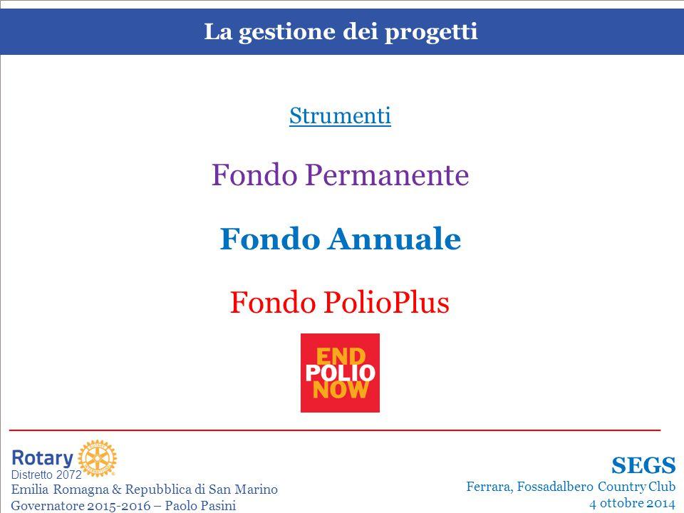 SEMINARIO ISTRUZIONE SQUADRA DISTRETTUALE Repubblica di San Marino, 22 Febbraio 2014 La gestione dei progetti Distretto 2072 Emilia Romagna & Repubblica di San Marino Governatore 2015-2016 – Paolo Pasini _______________________________________________________________________ SEGS Ferrara, Fossadalbero Country Club 4 ottobre 2014 Disponibilità FODD Anno 2015-2016 AnnoFondo FODDSovvenzioni RotarianoAnnualeMondiale[**]DistrettualiGlobali 2012-2013 340.000 170.000 85.000