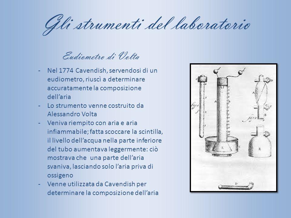 Gli strumenti del laboratorio -Nel 1774 Cavendish, servendosi di un eudiometro, riuscì a determinare accuratamente la composizione dell'aria -Lo strum