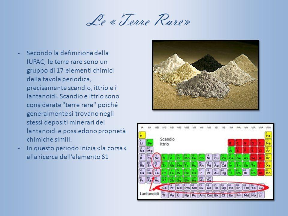 Le «Terre Rare» -Secondo la definizione della IUPAC, le terre rare sono un gruppo di 17 elementi chimici della tavola periodica, precisamente scandio,