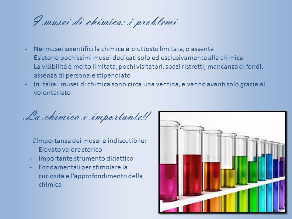 I musei di chimica: i problemi -Nei musei scientifici la chimica è piuttosto limitata, o assente -Esistono pochissimi musei dedicati solo ed esclusiva