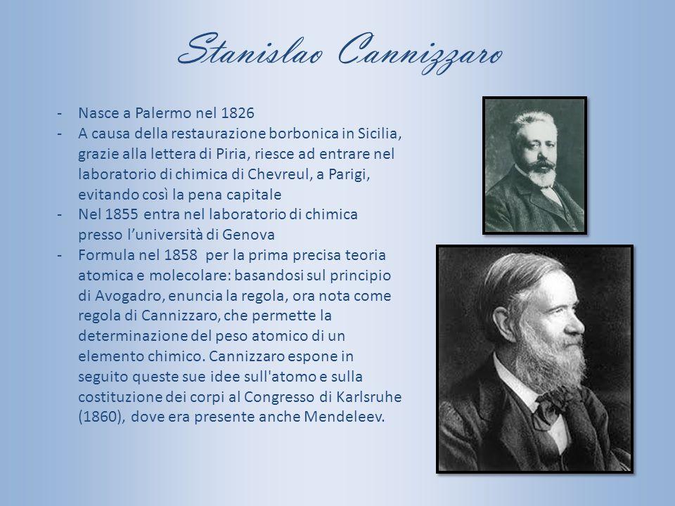 Stanislao Cannizzaro -Nasce a Palermo nel 1826 -A causa della restaurazione borbonica in Sicilia, grazie alla lettera di Piria, riesce ad entrare nel