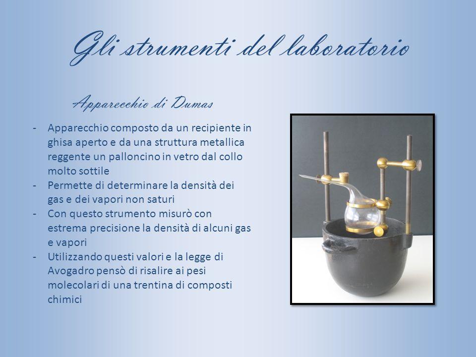 Gli strumenti del laboratorio -Apparecchio composto da un recipiente in ghisa aperto e da una struttura metallica reggente un palloncino in vetro dal