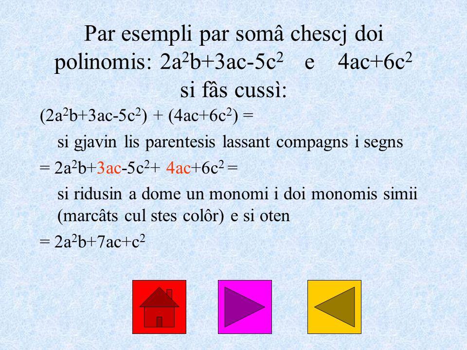 Par esempli par somâ chescj doi polinomis: 2a 2 b+3ac-5c 2 e 4ac+6c 2 si fâs cussì: (2a 2 b+3ac-5c 2 ) + (4ac+6c 2 ) = si gjavin lis parentesis lassant compagns i segns = 2a 2 b+3ac-5c 2 + 4ac+6c 2 = si ridusin a dome un monomi i doi monomis simii (marcâts cul stes colôr) e si oten = 2a 2 b+7ac+c 2