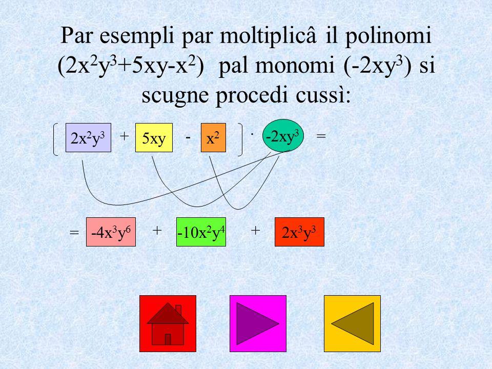 Par esempli par moltiplicâ il polinomi (2x 2 y 3 +5xy-x 2 ) pal monomi (-2xy 3 ) si scugne procedi cussì: 2x 2 y 3 + 5xy - x2x2 · -2xy 3 = = -4x 3 y 6 ++ 2x 3 y 3 -10x 2 y 4