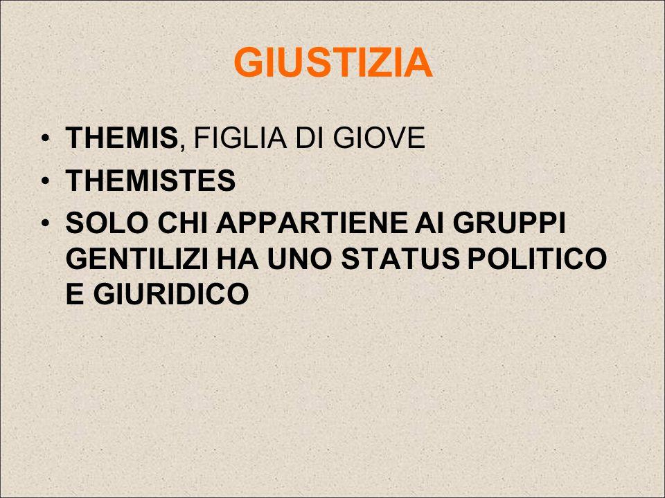 GIUSTIZIA THEMIS, FIGLIA DI GIOVE THEMISTES SOLO CHI APPARTIENE AI GRUPPI GENTILIZI HA UNO STATUS POLITICO E GIURIDICO