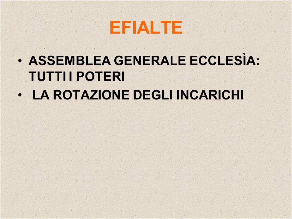 EFIALTE ASSEMBLEA GENERALE ECCLESÌA: TUTTI I POTERI LA ROTAZIONE DEGLI INCARICHI