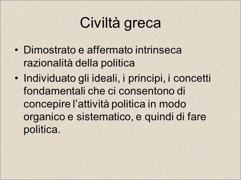 Civiltà greca Dimostrato e affermato intrinseca razionalità della politica Individuato gli ideali, i principi, i concetti fondamentali che ci consento