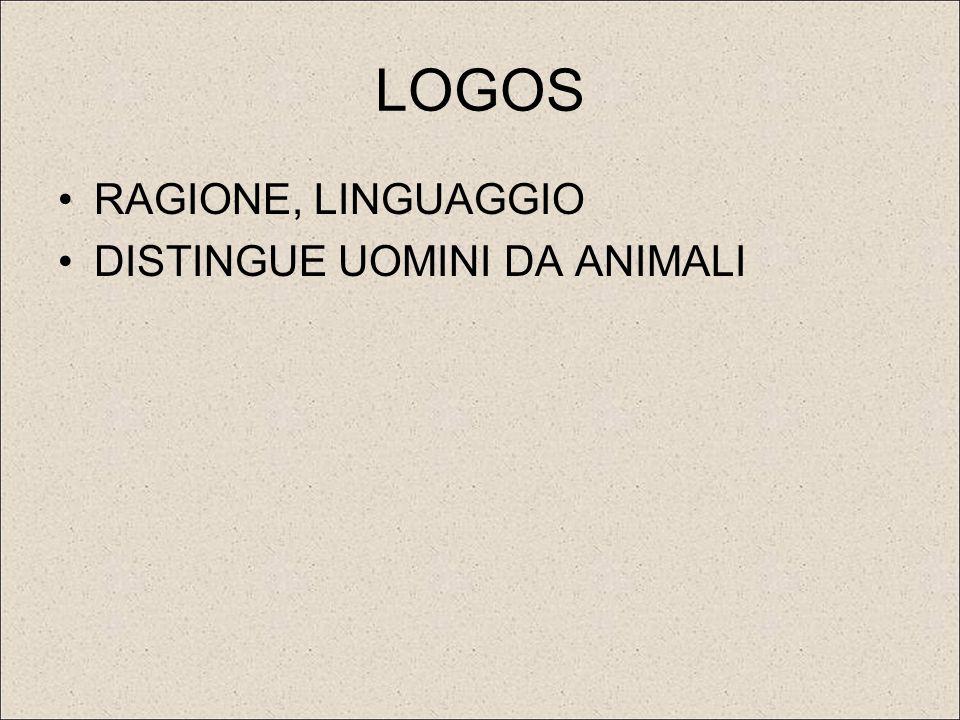 LOGOS RAGIONE, LINGUAGGIO DISTINGUE UOMINI DA ANIMALI