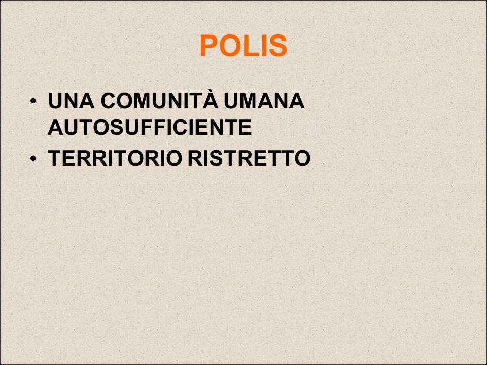 POLIS UNA COMUNITÀ UMANA AUTOSUFFICIENTE TERRITORIO RISTRETTO
