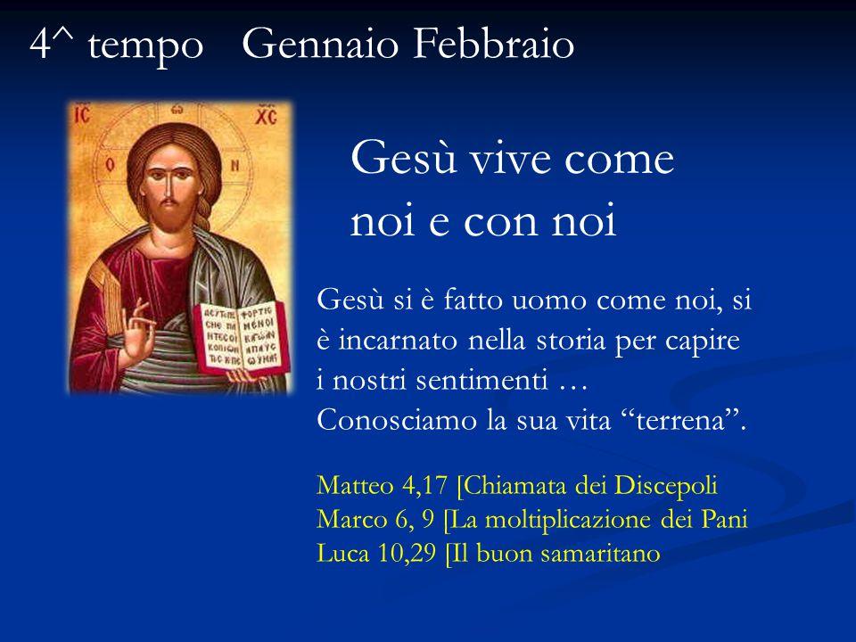 Gesù vive come noi e con noi 4^ tempo Gennaio Febbraio Gesù si è fatto uomo come noi, si è incarnato nella storia per capire i nostri sentimenti … Conosciamo la sua vita terrena .
