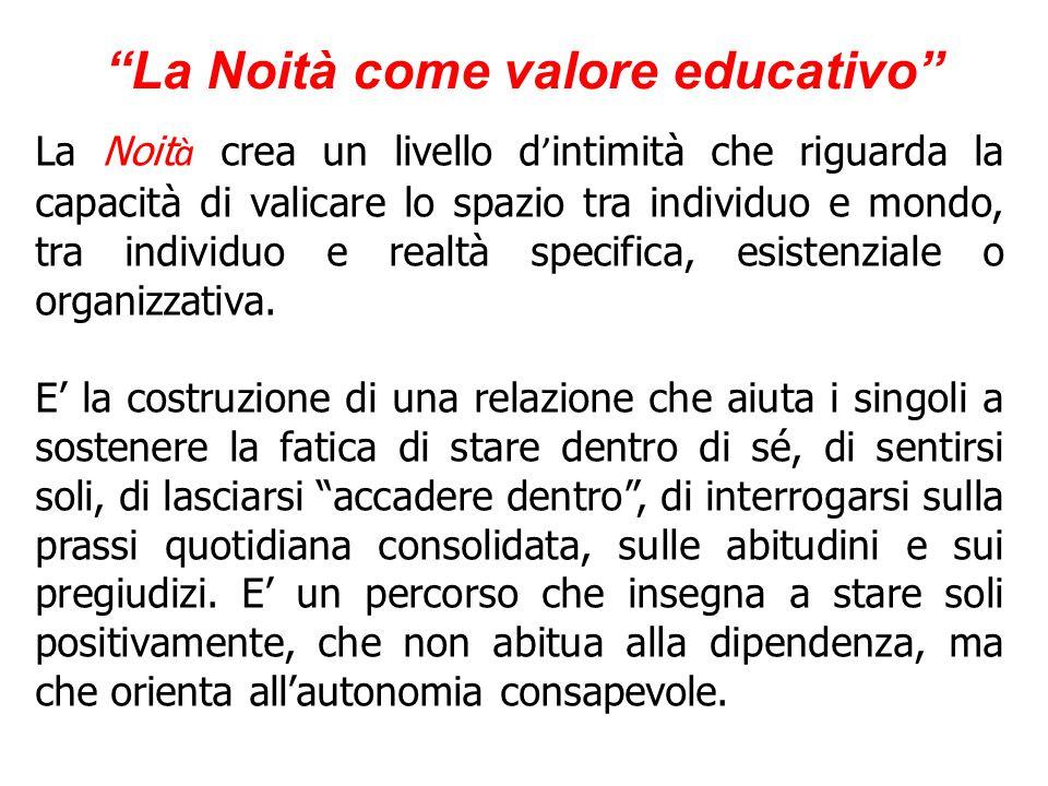 La Noità come valore educativo Noit à, formazione, cittadinanza Ci sono tanti noi e diversi livelli della noit à .