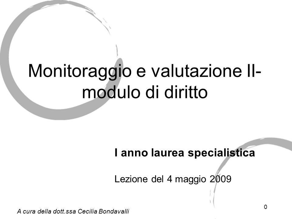 0 Monitoraggio e valutazione II- modulo di diritto I anno laurea specialistica Lezione del 4 maggio 2009 A cura della dott.ssa Cecilia Bondavalli