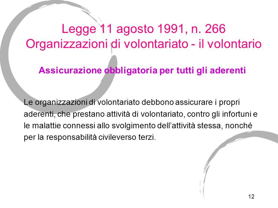 12 Legge 11 agosto 1991, n. 266 Organizzazioni di volontariato - il volontario Le organizzazioni di volontariato debbono assicurare i propri aderenti,