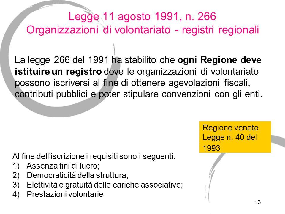 13 Legge 11 agosto 1991, n. 266 Organizzazioni di volontariato - registri regionali La legge 266 del 1991 ha stabilito che ogni Regione deve istituire