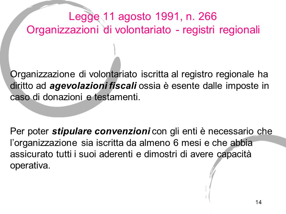 14 Legge 11 agosto 1991, n. 266 Organizzazioni di volontariato - registri regionali Organizzazione di volontariato iscritta al registro regionale ha d