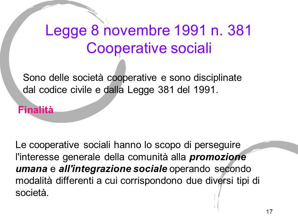17 Legge 8 novembre 1991 n. 381 Cooperative sociali Le cooperative sociali hanno lo scopo di perseguire l'interesse generale della comunità alla promo