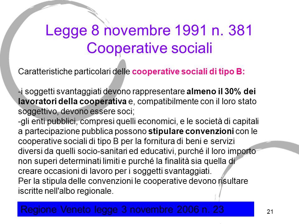 21 Legge 8 novembre 1991 n. 381 Cooperative sociali Caratteristiche particolari delle cooperative sociali di tipo B: -i soggetti svantaggiati devono r