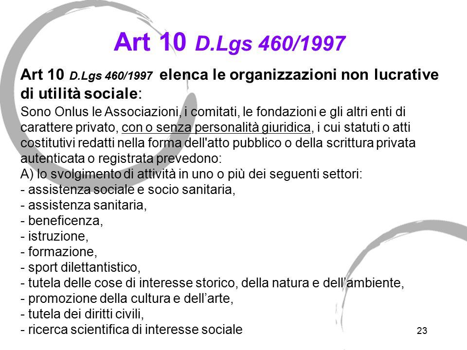 23 Art 10 D.Lgs 460/1997 Art 10 D.Lgs 460/1997 elenca le organizzazioni non lucrative di utilità sociale: Sono Onlus le Associazioni, i comitati, le f