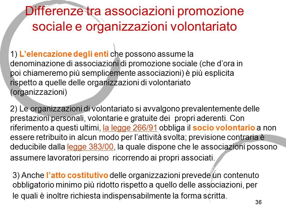 36 Differenze tra associazioni promozione sociale e organizzazioni volontariato 1) L'elencazione degli enti che possono assume la denominazione di ass