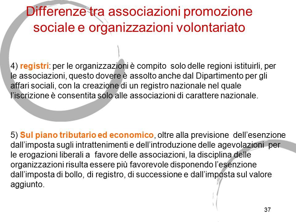 37 Differenze tra associazioni promozione sociale e organizzazioni volontariato 4) registri: per le organizzazioni è compito solo delle regioni istitu
