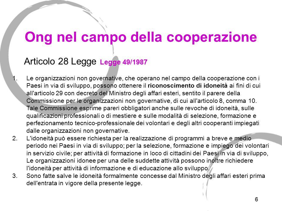 6 Ong nel campo della cooperazione 1.Le organizzazioni non governative, che operano nel campo della cooperazione con i Paesi in via di sviluppo, posso